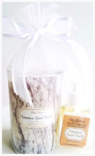 Bath & Body Works Cinnamon Spiced Vanilla Medium Marble Candle & Wallflower Bulb