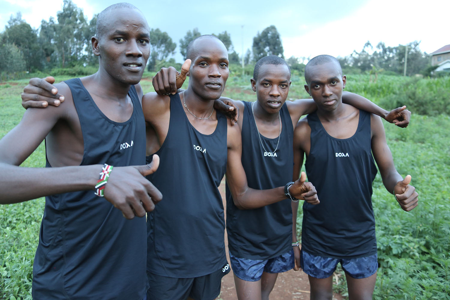 Students from the Kenswed Academy running in DOXA technical running apparel