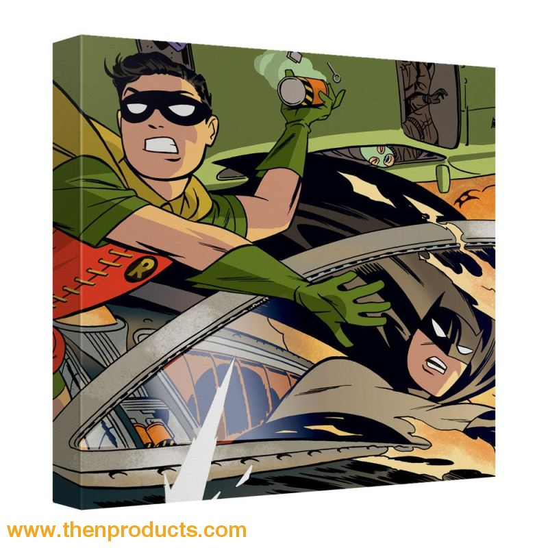 Batman - Batman And Robin In Car Chase Canvas Wall Art With Back Board - Then Products