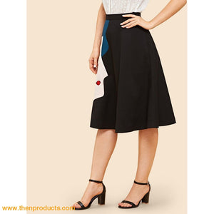 Artistic Graphic Flare Skirt - Then Products