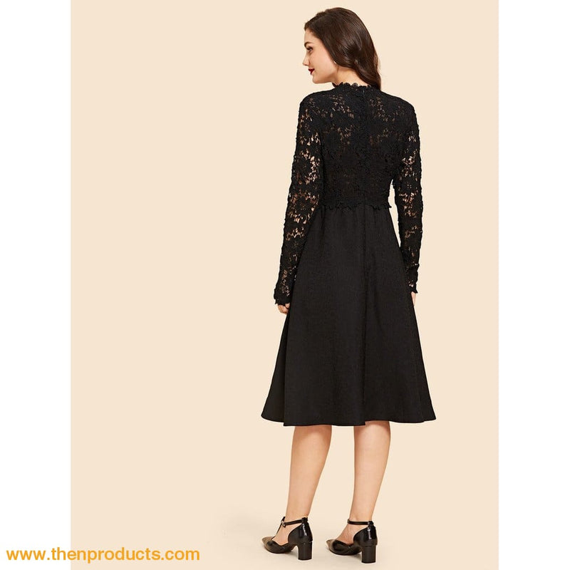 Black Contrast Lace Sheer Flare Dress - Then Products