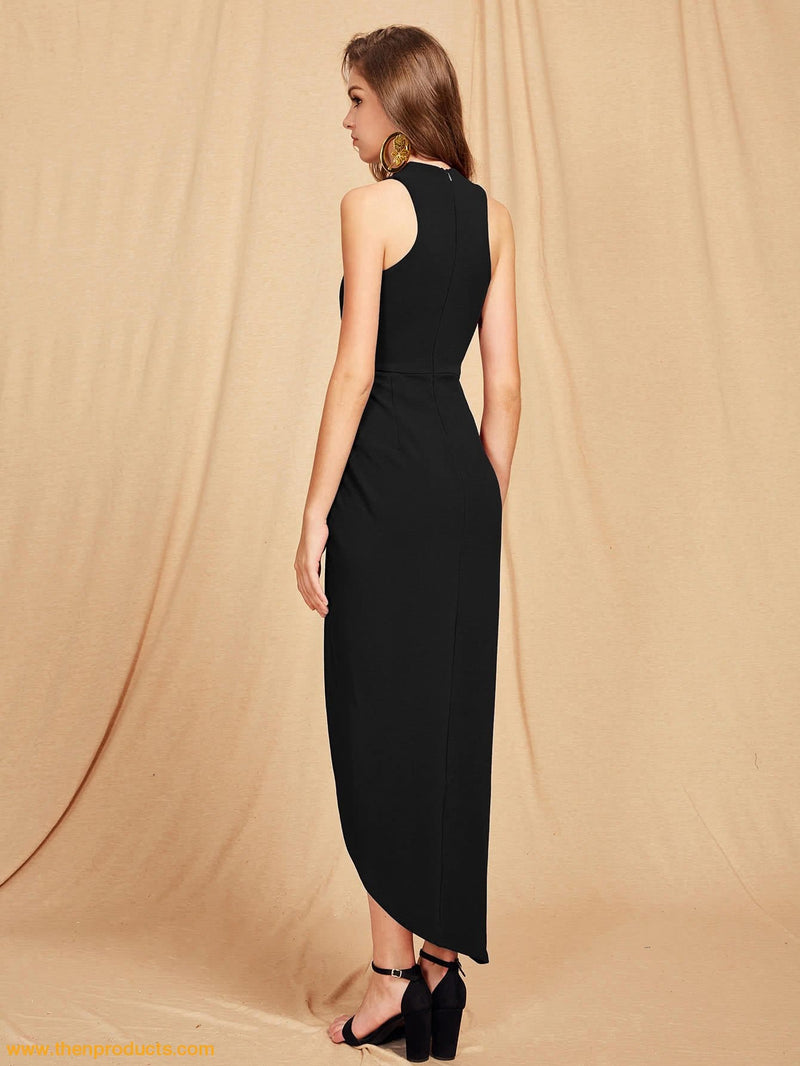 Black Criss Cross Halterneck  Maxi Dress - Then Products
