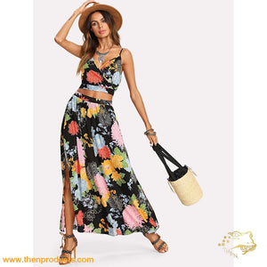 Black Crop Floral Wrap Cami & Skirt Co-Ord - Then Products