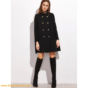 Black Double Breasted Scallop Edge Cape Coat - Then Products
