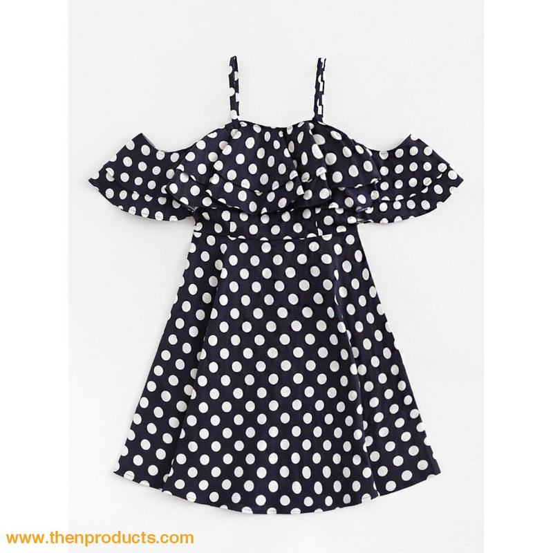Black Layered Ruffle Polka Dot Cami Dress - Then Products