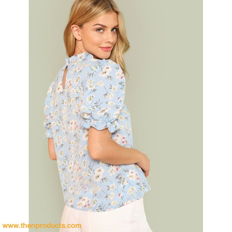 Blue Frill Trim Calico Print Blouse - Then Products