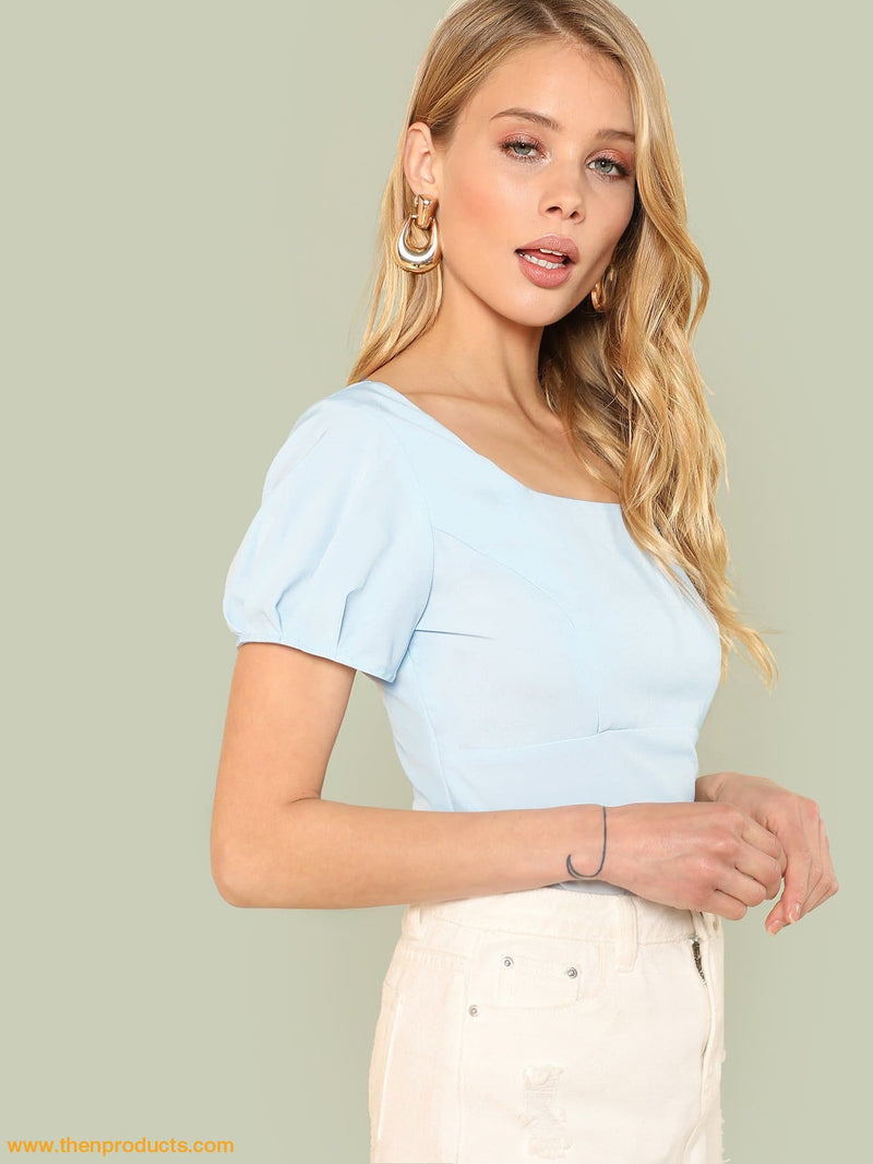 Blue Square Neck Solid Crop Top - Then Products