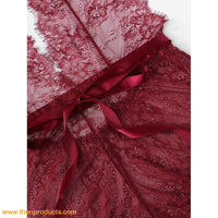 Burgundy Eyelash Lace Teddy - Then Products