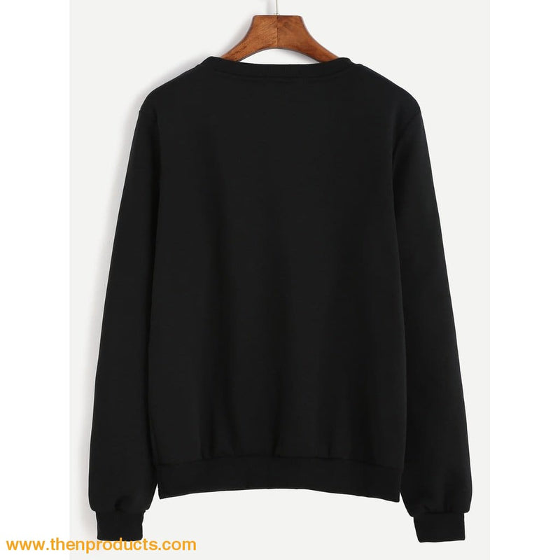 Crew Neck Letter Print Sweatshirt - Then Products