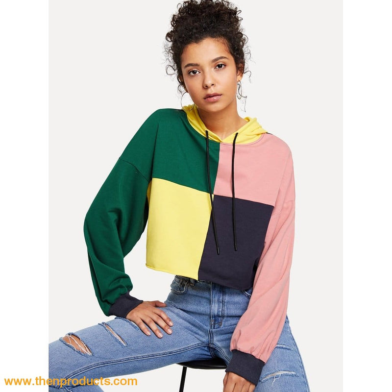 Cut and Sew Drawstring Hoodie Crop Sweatshirt - Then Products