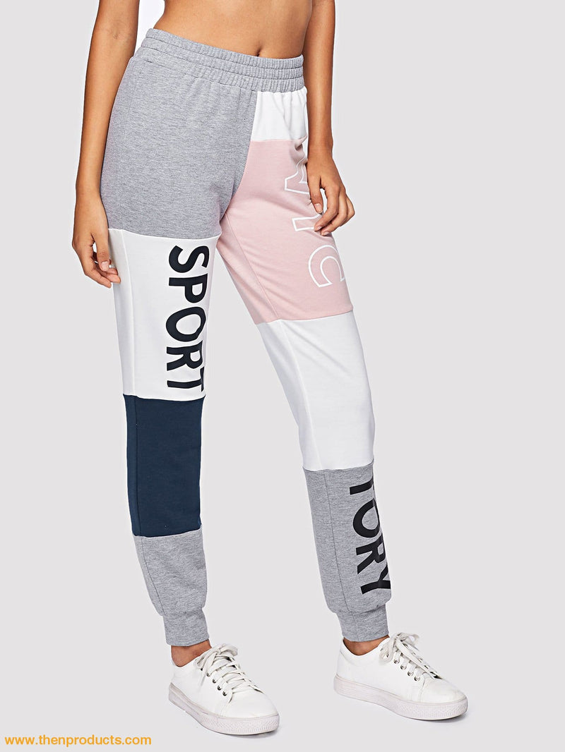 Cut And Sew Letter Print Sweatpants - Then Products