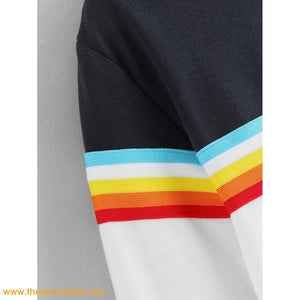 Cut and Sew Striped Sweatshirt - Then Products