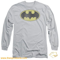 Dc - Retro Bat Logo Distressed Long Sleeve Adult 18/1 - Then Products