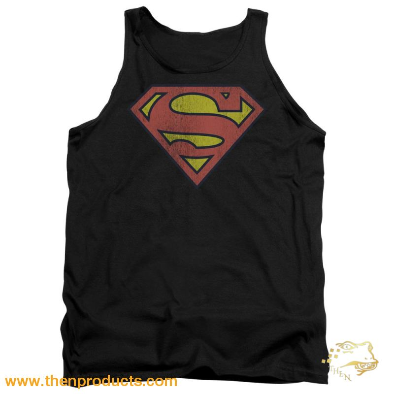 Dc - Retro Supes Logo Distressed Adult Tank - Then Products