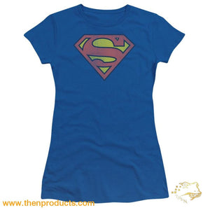Dc - Retro Supes Logo Distressed Short Sleeve Junior Sheer - Then Products
