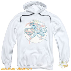 Dco - Retro Superman Iron On Adult Pull Over Hoodie - Then Products