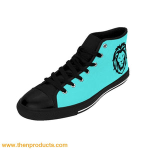 ARIEL (LOG) Women's High-top Sneakers (Tiffany Blue) - Then Products