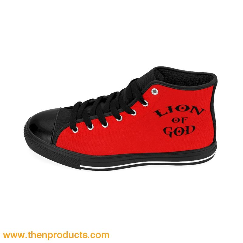 ARIEL (LOG) Men's High-top Sneakers (Red) - Then Products