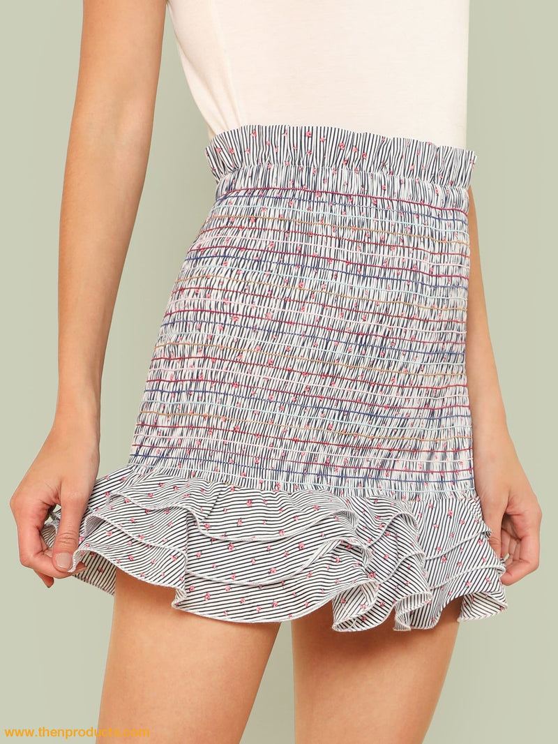 Floral And Stripe Print Frill Trim Shirred Skirt Women - Apparel Shirt