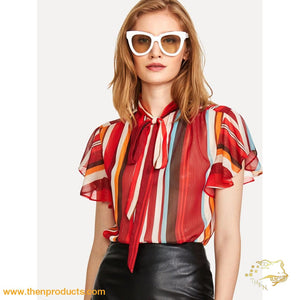 Flutter Sleeve Tied Neck Striped Blouse