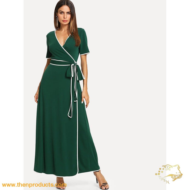 Green Contrast Binding Belted Wrap Dress Women - Apparel Shirt