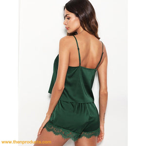 Green Lace Trim Satin Cami & Shorts Pajama Set