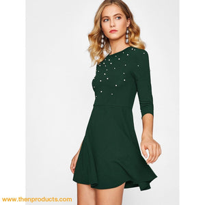 Green Pearl Embellished Fit & Flare Dress Women - Apparel Shirt