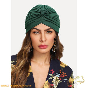Green Pleated Plain Turban Hat