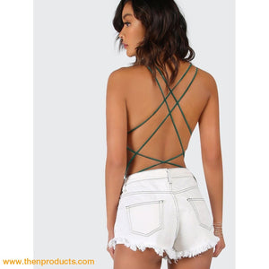 Green Strappy Backless Bodysuit