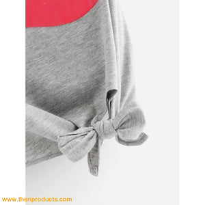 Grey Knot Red Lip Bite Tee Women - Apparel Shirt