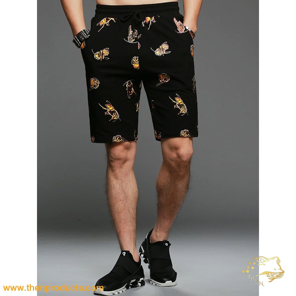 Men Bee Print Drawstring Shorts