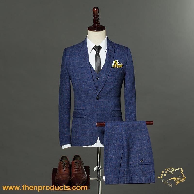 Men S Three Piece Suit Single Button Plaid Formal Set Then Products