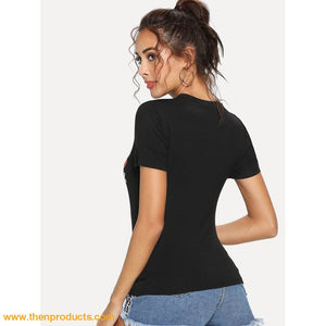 Mixed Print Form Fitting Tee Women - Apparel Shirts