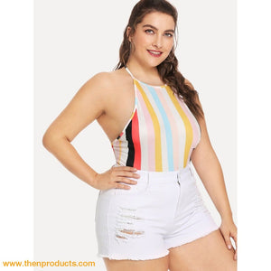 Multicolor Plus Striped Halter Bodysuit