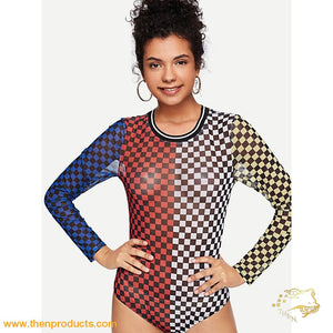 Multicolor Racer Semi Sheer Bodysuit