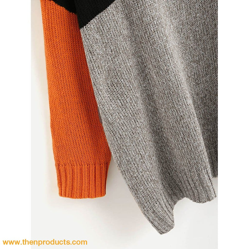 Orange Color Block Longline Jumper