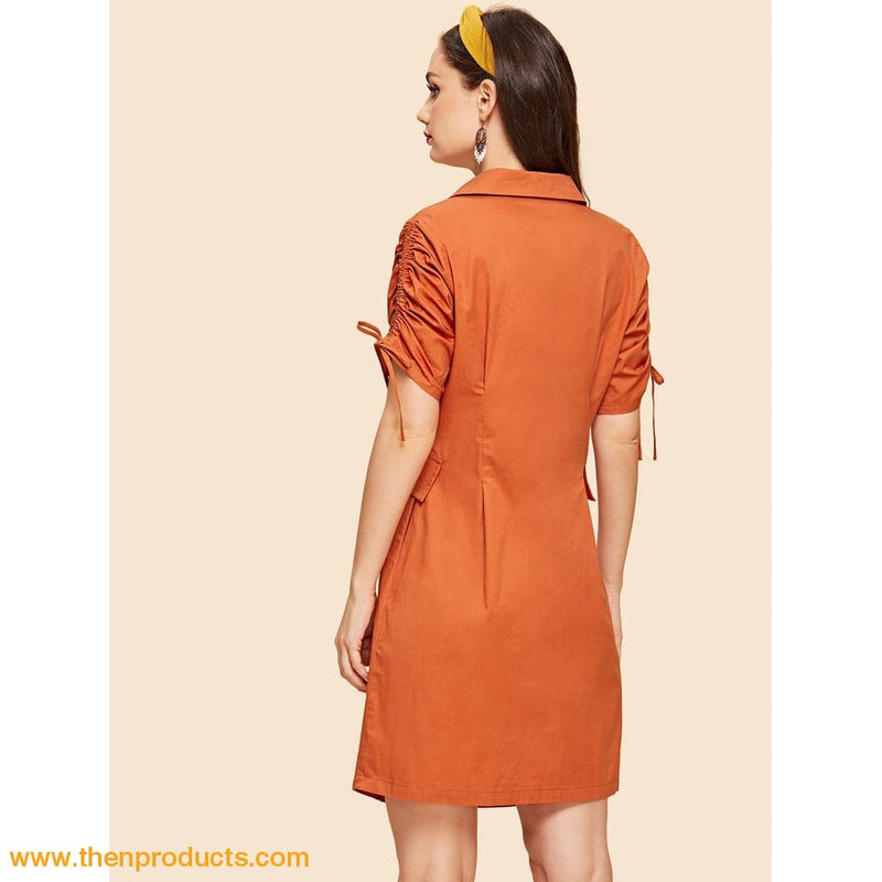 Orange Drawstring Sleeve Button Up Dress