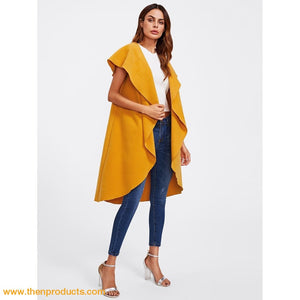 Oversized Shawl Collar Vest Mustard Women - Apparel Sweaters Cardigans