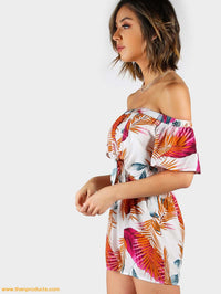 Palm Leaf Print Layered Knot Front Open Back Playsuit Women - Apparel Shirt