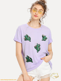 Pearl Beading Embroidered Cactus Patch T-Shirt Women - Apparel Shirt