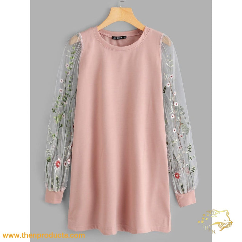Pink Botanical Embroidered Mesh Sleeve Longline Pullover Women - Apparel Sweaters Pull Over