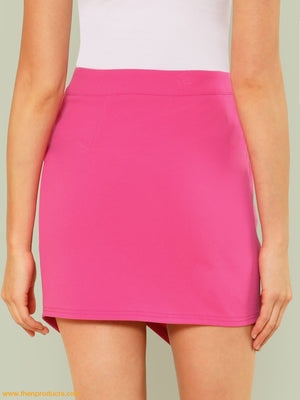 Pink Overlap Front Solid Skirt Women - Apparel Shirt