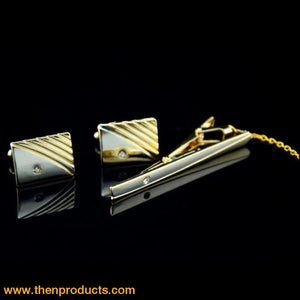 Diamond Tie Clip Cufflinks - Then Products
