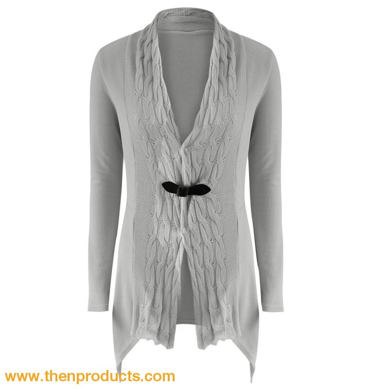 Womens Outwear Fashionable Cardigan Sweater Long Sleeves Grey / Xl