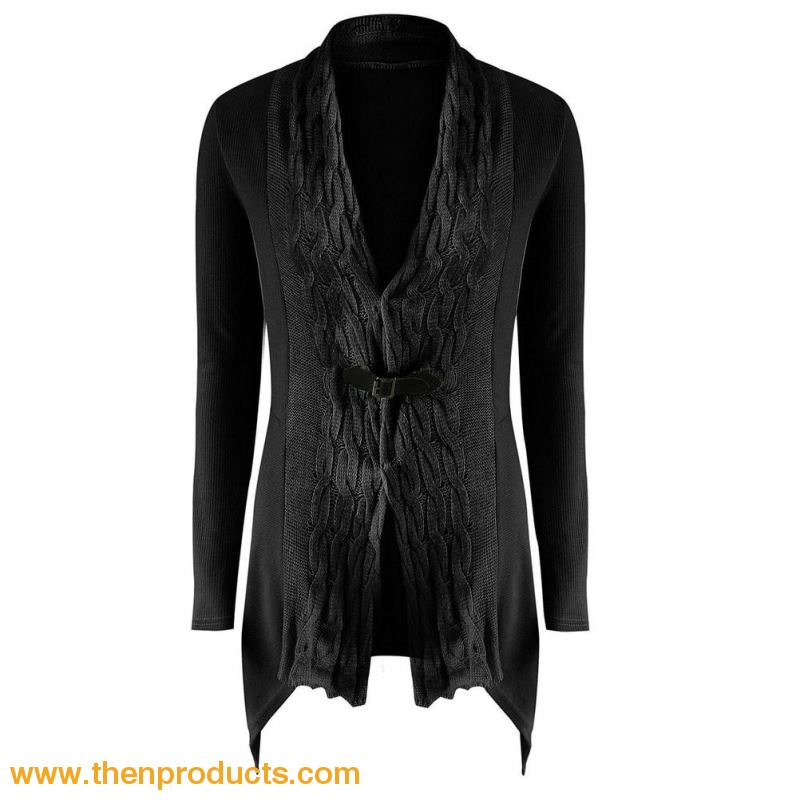 Womens Outwear Fashionable Cardigan Sweater Long Sleeves Black / S