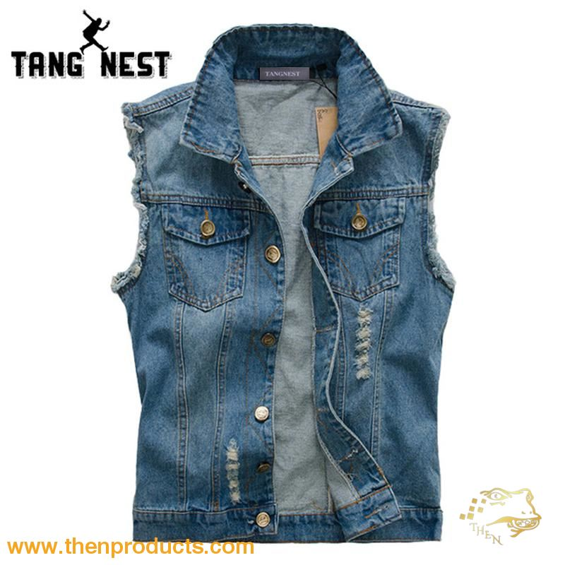 Tangnest Plus Size 5Xl Fashion Men Denim Vest 2018 Hot Sale Casual Cool Jeans Slim Single-Breasted