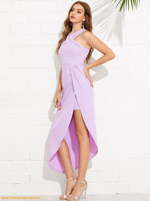 Purple Criss Cross Halterneck Maxi Dress Women - Apparel Shirt