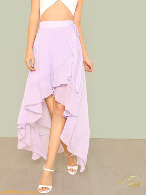 Purple Knot Side Asymmetric Ruffle Wrap Skirt Women - Apparel Shirt