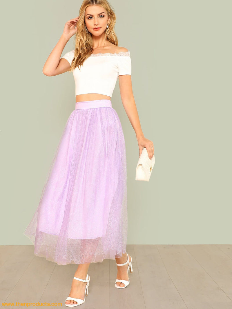 Purple Metallic Mesh Overlay Skirt Women - Apparel Shirt