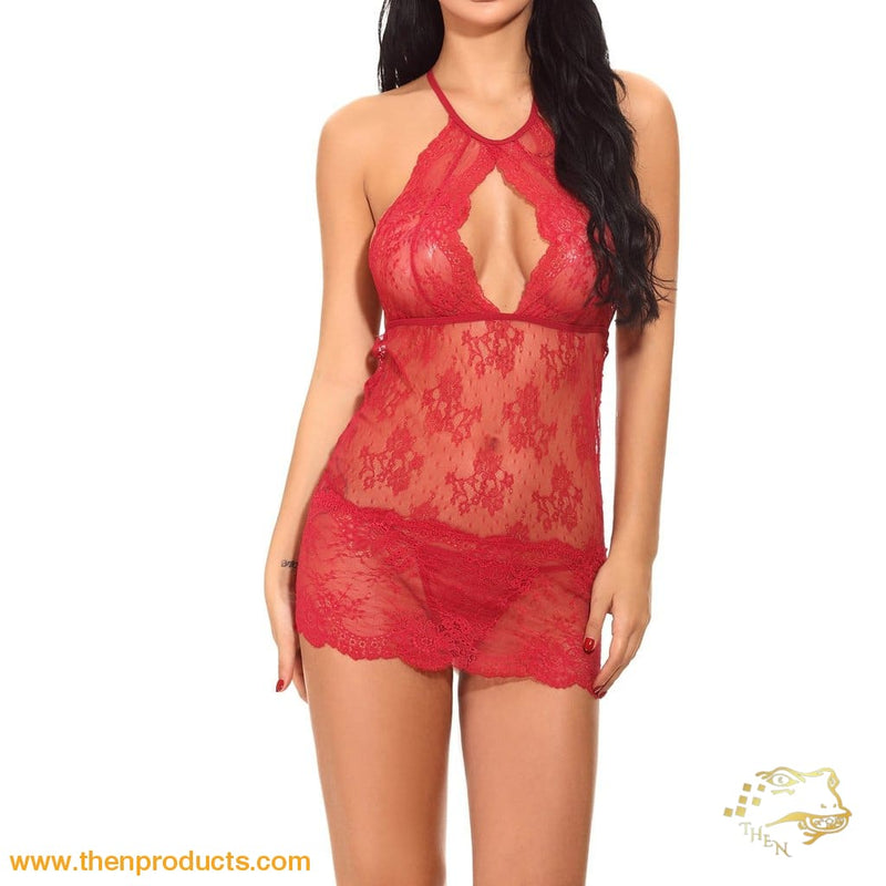 Red Cut Out Lace Dress With Thong